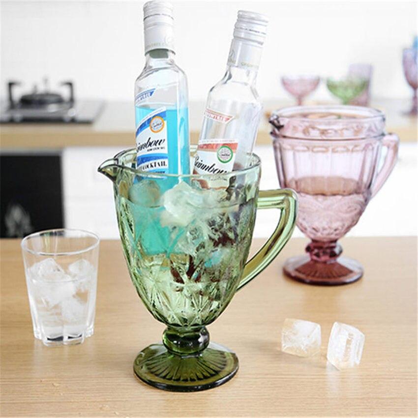 1300ML 유럽 유리 양각 구호 차가운 물 냄비 컵 크리 에이 티브 컬러 유리 차가운 컵 가정용 우유 주스 냄비 파티