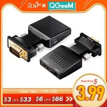 QGeeM convertidor de VGA a HDMI con adaptador de Audio Full HD VGA a HDMI con salida de vídeo 1080P HD para PC portátil HDMI toVGA