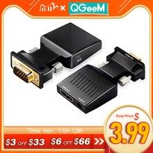 Qgeem Vga Naar Hdmi Converter Met Audio Full Hd Vga Naar Hdmi Adapter Met Video uitgang 1080P Hd Voor pc Laptop Hdmi Tovga