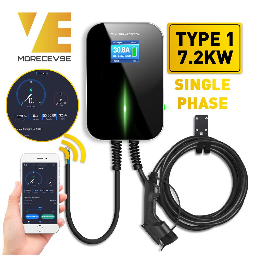 32A 1Phase APP Version Wall Mount EV Charger Electric Vehicle Charging Station with Type 1 Cable SAE <font><b>J1772</b></font> image