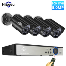 Hiseeu 8CH 5.0MP نظام الكاميرا الأمن مجموعة 4 قطعة 720P 1080P 1920P AHD مقاوم للماء كاميرا الشارع في الهواء الطلق طقم مراقبة الفيديو