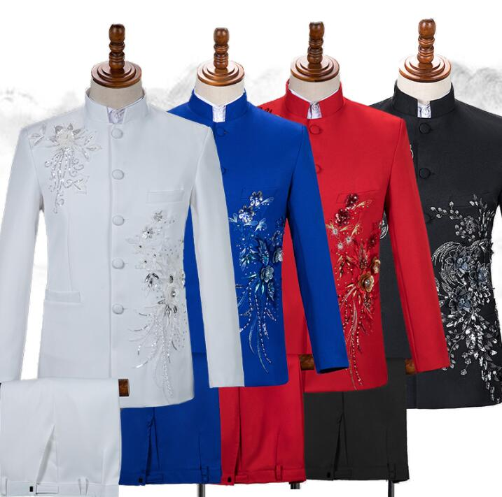 Stand Collar Blazer Men Chinese Tunic Suit Set With Pants Mens Wedding Suits Singer Stage Sequin Embroidery Formal Dress B383