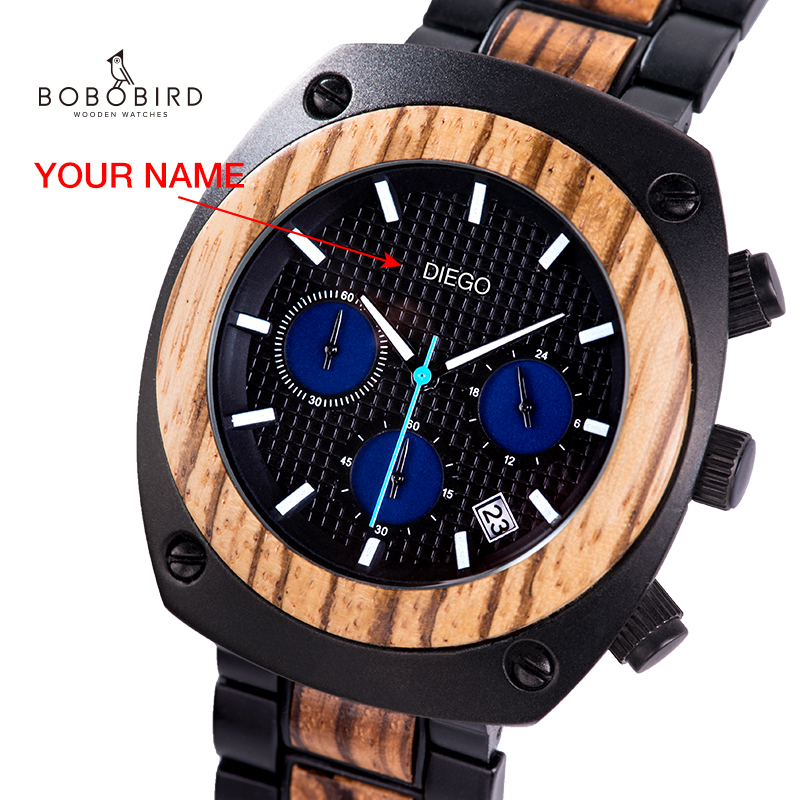 BOBO BIRD Wood Watch Men Personalized часы мужские Chronograph Military Watches Custom Valentine's Birthday Gift  Dropshipping