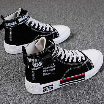 Spring Autumn Men Shoes High Top Canvas Casual Sneakers Hip Hop Teens Vulcanized Breathable Skateboard Running Jogging Travel image