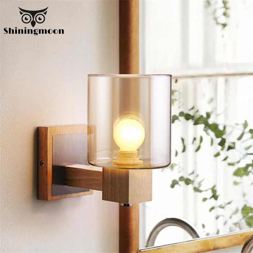 American Retro Glass Lampshade Wall Lamps Nordic Design Oak Solid Wood Led Lamp Stairs Corridor Bedside Light Fixtures