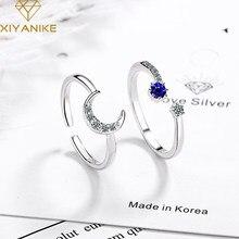 XIYANIKE – bague créative en argent Sterling 925 avec étoile et lune pour femme, anneau en cristal, motif géométrique, fait à la main, idéal pour un mariage