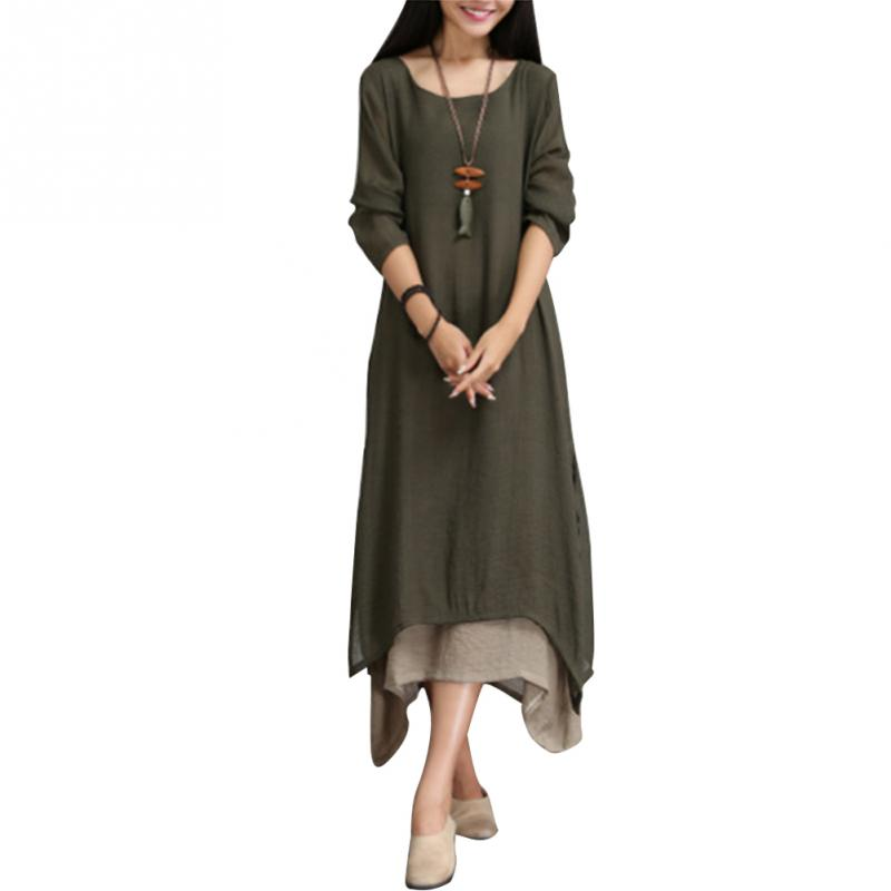 Vintage Women Casual Loose Dress Solid Long Sleeve Women Ethnic Autumn Long Maxi Dresses Plus Size Retro Irregular Hem Dress in Dresses from Women 39 s Clothing