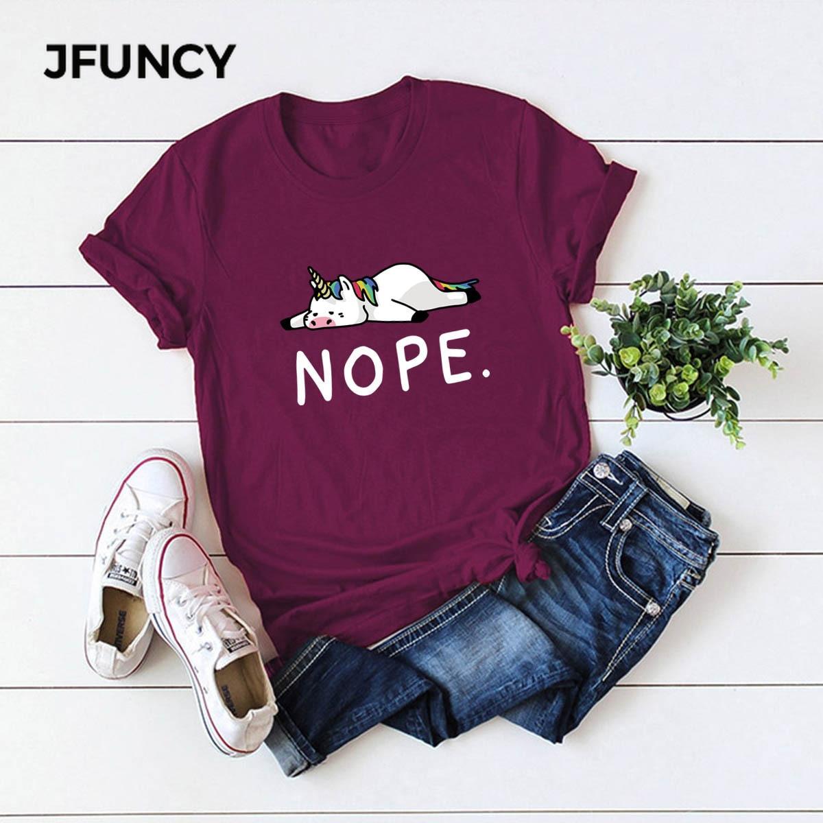 JFUNCY Cute Unicorn Print Plus Size Women Loose Tee Tops 100% Cotton Summer T-Shirt Woman Shirts Casual Kawaii Mujer Tshirt