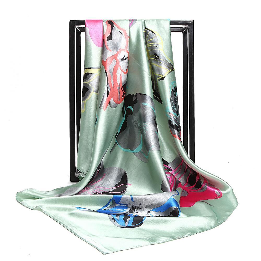 Fashion Head Silk Scarf Women Luxury Designer Shawl Bandana Female Elegant Foulard 90x90cm Large Square Scarves Muslim Hijab