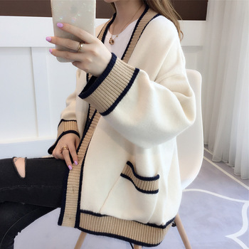 Women's Cardigan Knitted Korean Fashion Stripe Wool Sweater for Women Winter Long Sleeve V-neck Casual Knitwear Coats Female new fashion women female korean short type long sleeve slim motor zipper leather jackets coats
