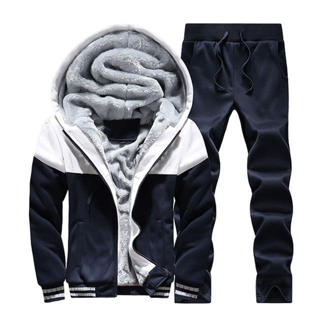 2019 Men Warm Sets Fashion Sporting Thick Suit Patchwork Zipper Hooded Sweatshirt +Sweatpants Mens 2 Pieces Sets Slim Tracksuit 4