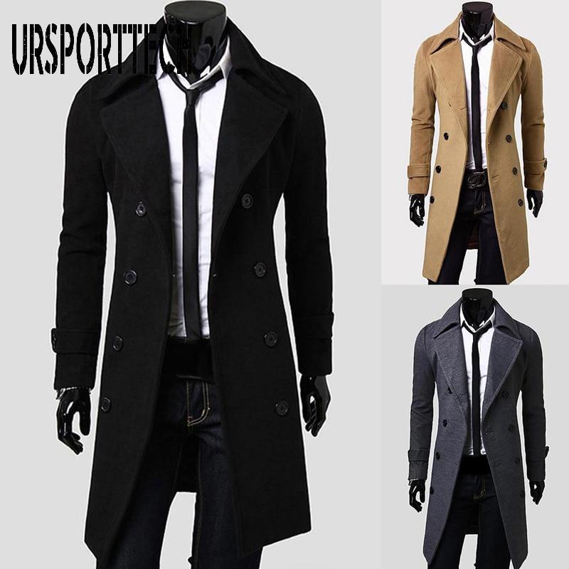 URSPORTTECH Fashion Coat Men Wool Coat Winter Warm Solid Long Trench Jacket Breasted Business Casual Overcoat Male Woolen Coat