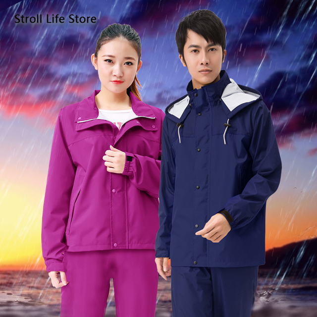 Nylon Men and Women Raincoat Rain Pants Suit Waterproof Thickened Double Blue Rain Jacket Poncho Casaco Masculino Gift Ideas