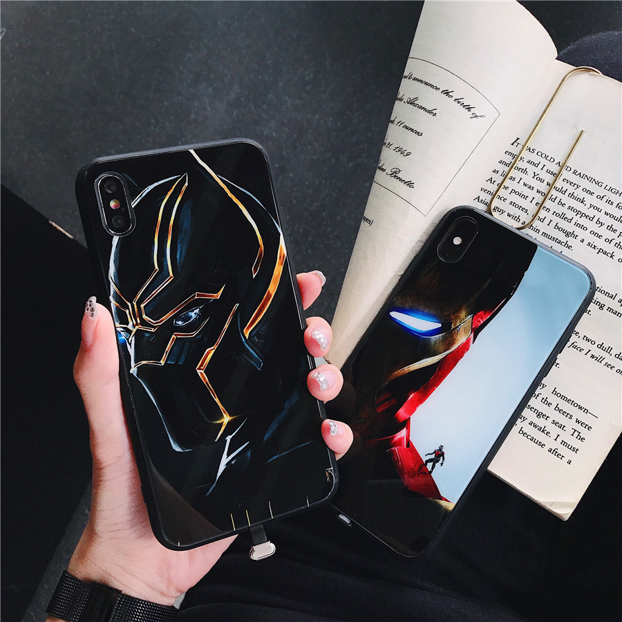 Marvel Iron Man Call Light UP Case For iPhone XS MAX XR X 6 7 8 6S Plus LED Flash Reminder Incoming Luminous Glass Cover Panther