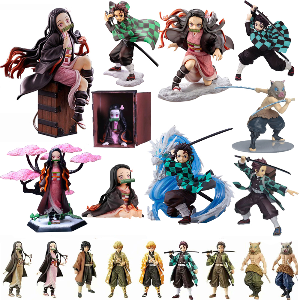 Agatsuma Zenitsu Kamado Nezuko Tanjirou Demon Slayer Kimetsu No Yaiba Anime PVC Action Figures Toys Anime Figure Toys For Gifts