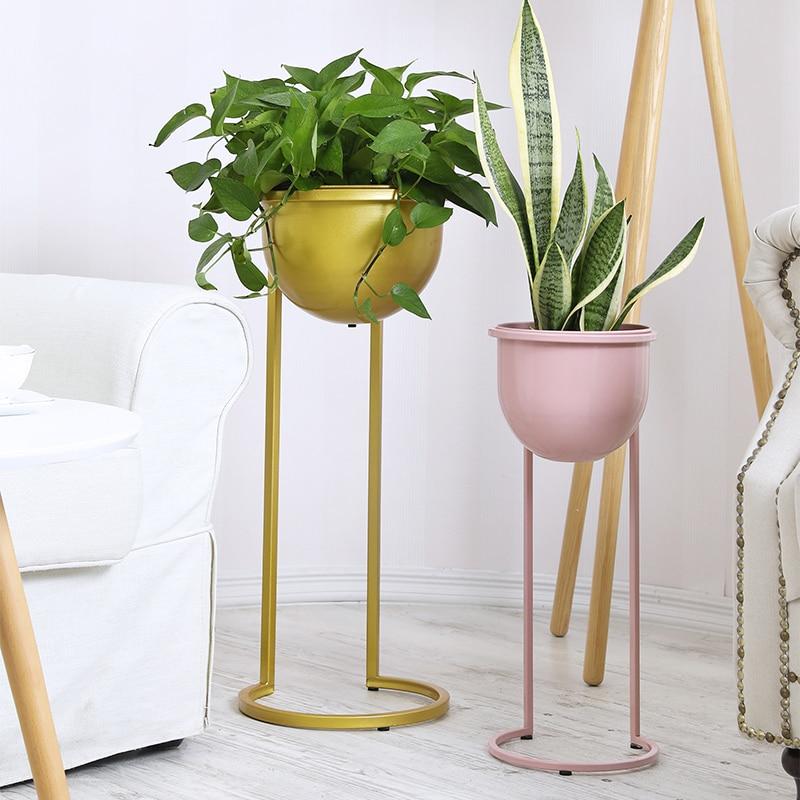 Ins European Style Wrought Iron Flower Stand Floor Type Living Room Rack Simple Indoor Balcony Nordic Wind Green Flower Shelf