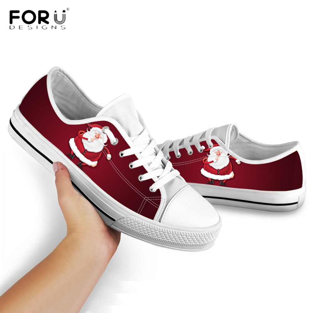 FORUDESIGNS Cute Santa Claus Merry Christmas Pattern Shoes Woman Sneakers Casual Ladies Shoes Low Top Lace Up Canvas Footwear