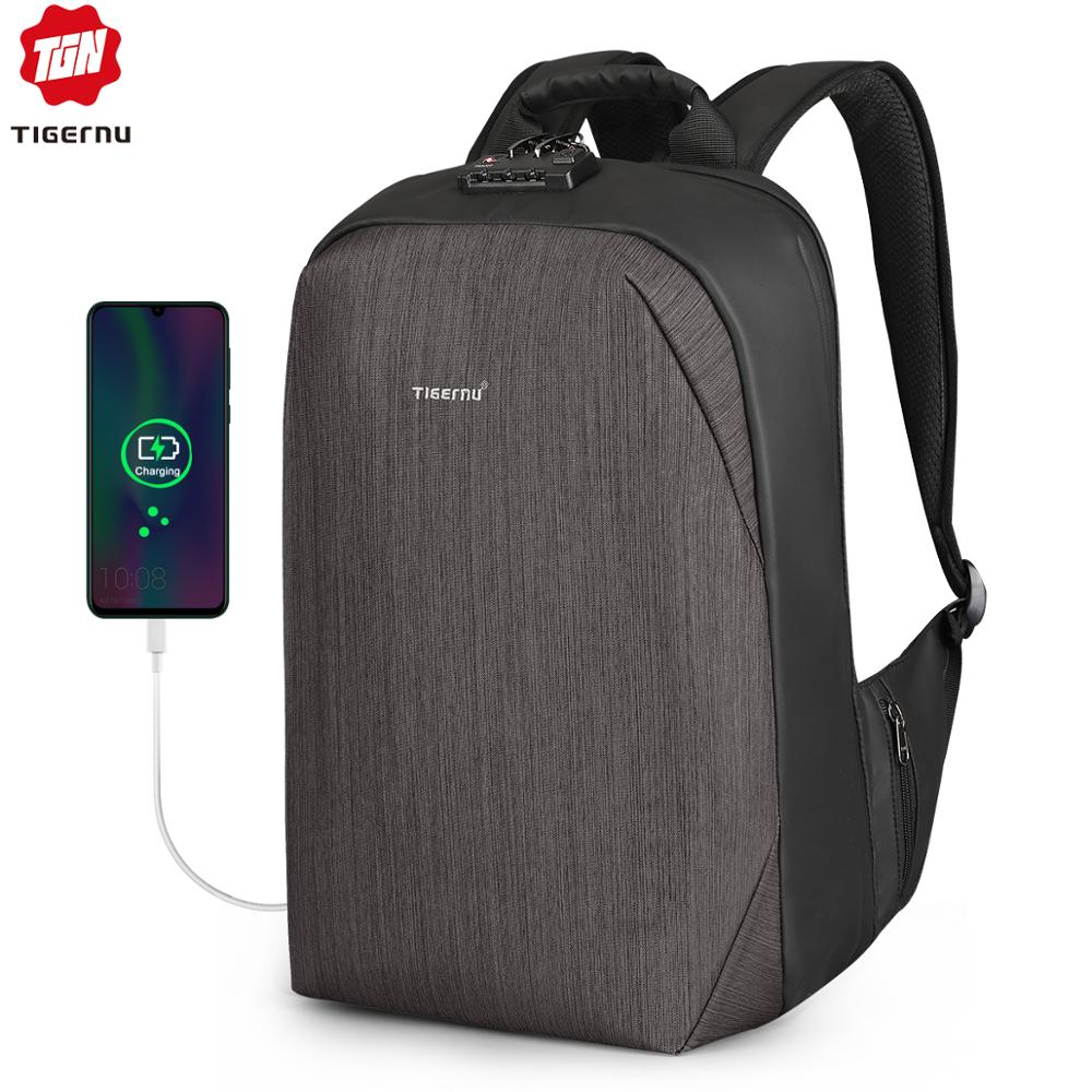 Tigernu RFID Business Backpack With TSA Travel Lock For Luggage Card Protection Anti Theft Backpacks Men Waterproof 15.6 Laptop