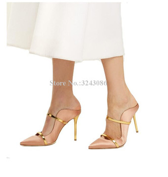 Lady New Gold Strap Stiletto Heel Sandals Fashion Pointed Toe Mixed Color Luxury Design High Heels Dress Sandals Shoes Women