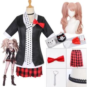 Anime Danganronpa Cosplay Wig Junko Enoshima Cosplay Costume School Girls Uniform Dangan Ronpa Halloween Costume For Women CS233