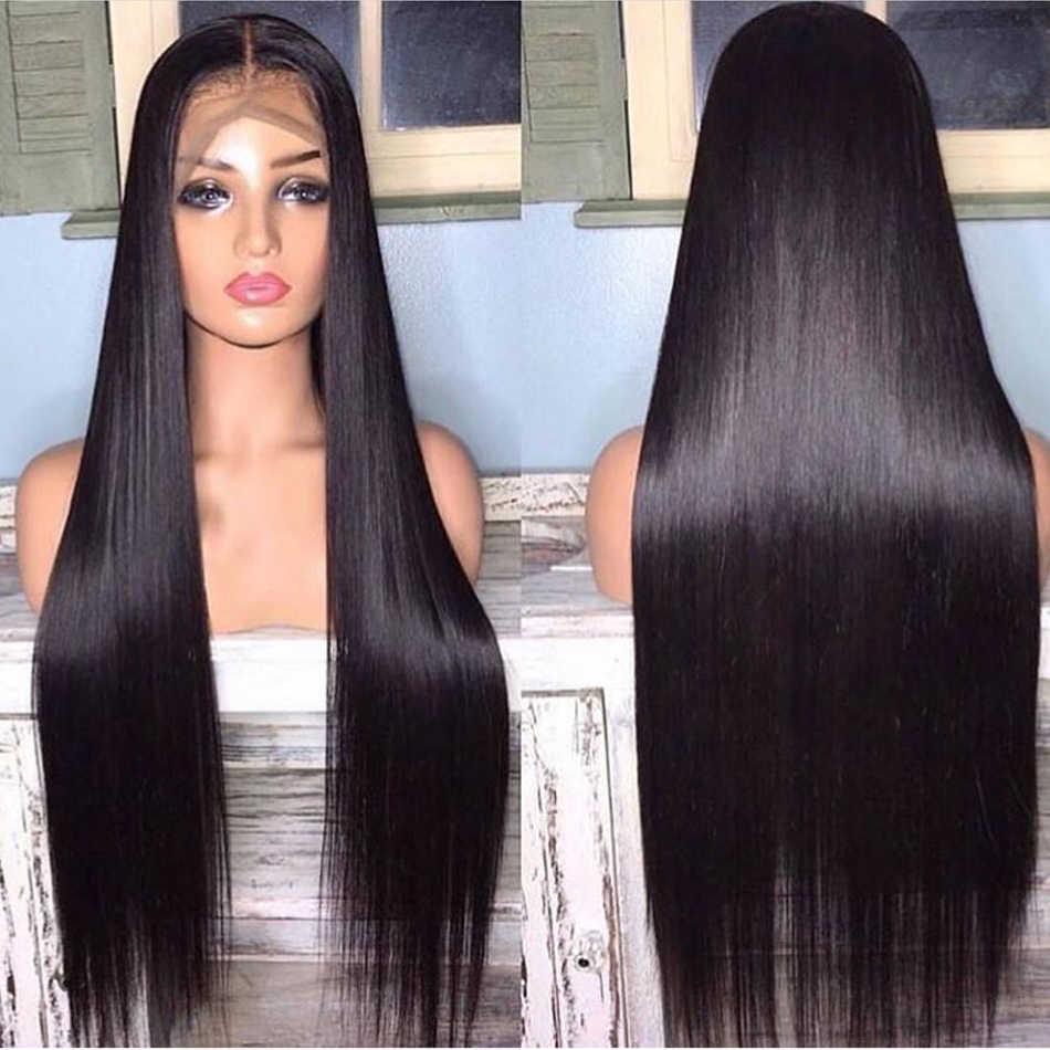 Pelucas de cabello humano 28 30 32 34 pulgadas, largas, rectas, con encaje Frontal, pre-arrancadas, Virgo 8-26 13x4 150%, pelucas de cabello brasileño Remy con encaje Frontal