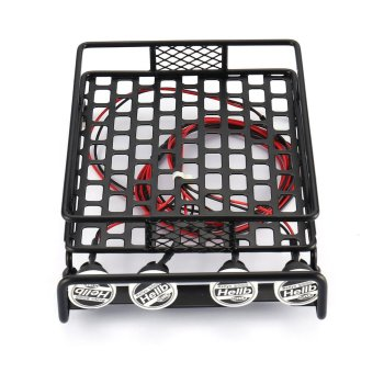 RC Car Universal Roof Rack Luggage Carrier With 4 Round LED Lights 1/10 RC Rock Crawler Axial SCX10 D90 TRX-4 image