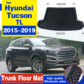 Car Tray Boot Liner Cargo Rear Trunk Cover Matt Mat Boot Liner Floor Carpet Mud For Hyundai Tucson TL 2015 2016 2017 2018 2019 image