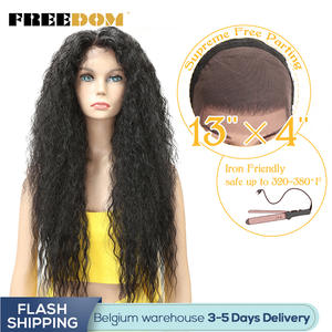 FREEDOM Lace-Front-Wig Wigs Hairline Baby-Hair Heat-Resistant Natural Long Ombre Kinky-Curly-30-Women