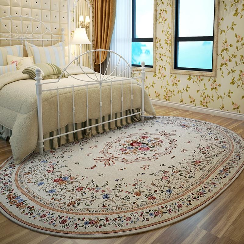 European Pastoral Style Oval Carpets For Living Room Flower Home Carpet Bedroom Countryside Rugs Bedside Floor Study Rug