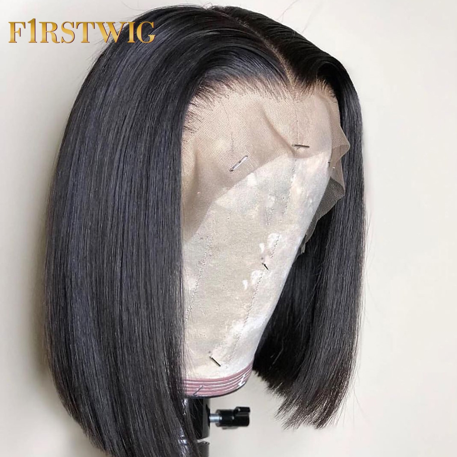 Lace Front Human Hair Wigs Straight Brazilian Natural Ombre 27 30 Burgundy Purple Color Short Bob Wig Remy 130% FirstWig
