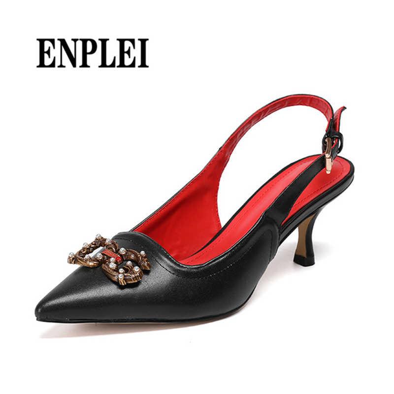 ENPLEI オフィス靴女性パンプス 2019 高級ブランドデザイナーは黒、白女性のレザーサンダル女性 35-43