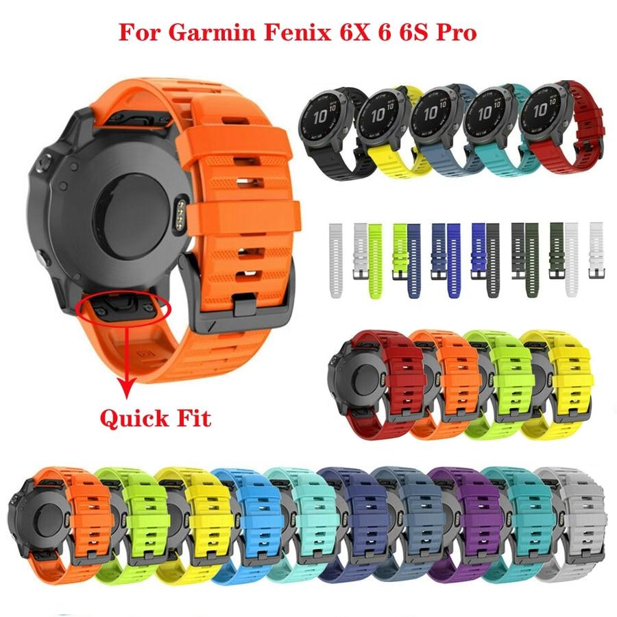 JKER 26 22MM Silicone Quick Release Watchband Strap For Garmin Fenix 6X Pro Watch Easyfit Wrist Band Strap For Fenix 6 Pro Watch