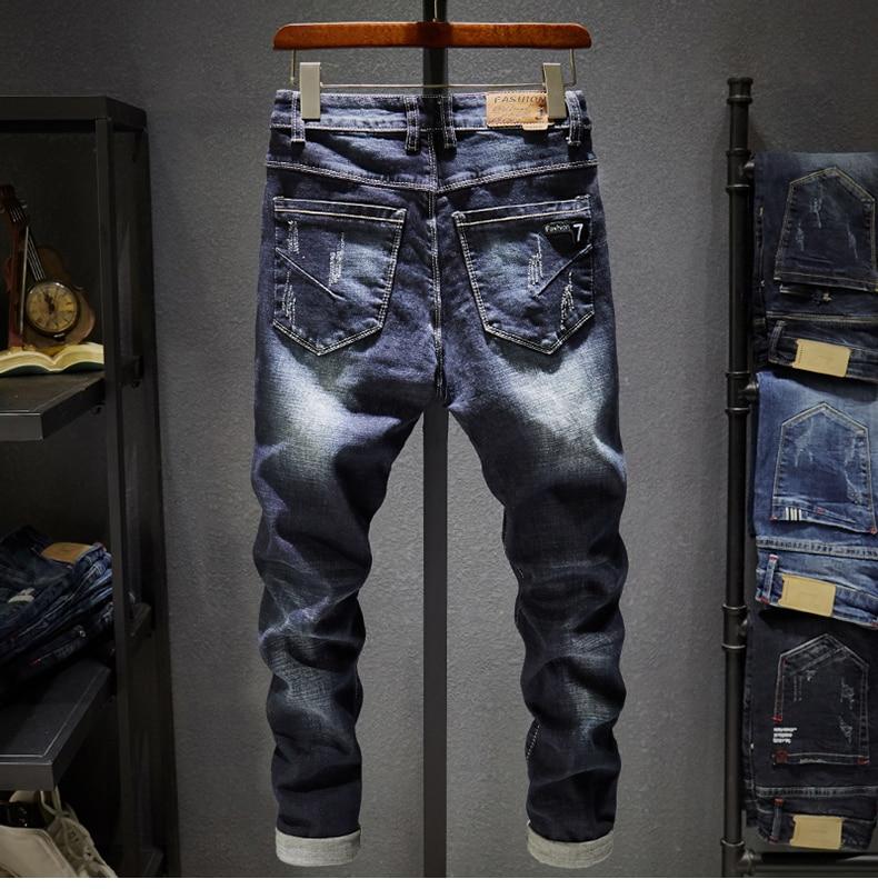 Ripped Men Jeans Dark Blue Stretch Slim Fit  Destroyed Broken Holes Denim Pants Casual Biker Jeans
