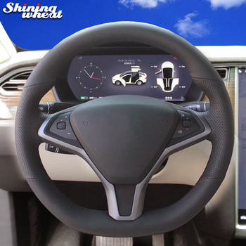 Shining wheat Hand-stitched Black Genuine leather Steering Wheel Cover for Tesla model S