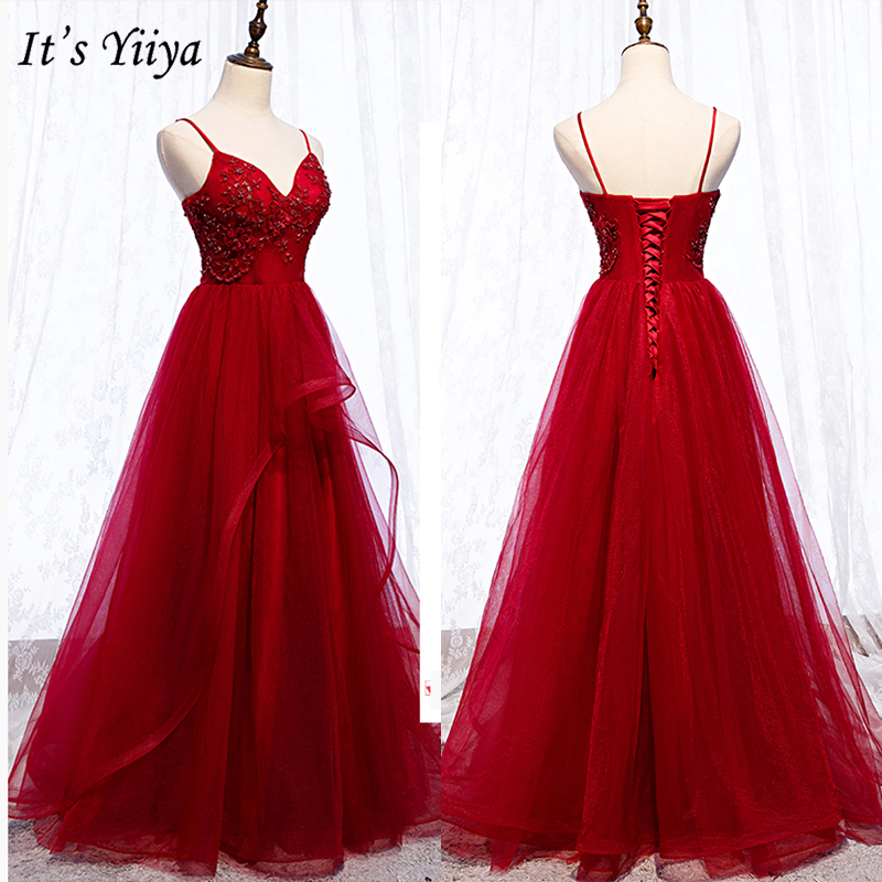 It's Yiiya Evening Dress 2019 Lace Up Women Party Long Dresses Elegant Spaghetti Strap Appliques A-Line Robe De Soiree E1002