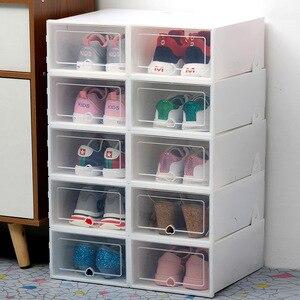 Image 4 - 10 pc 透明靴箱肥厚透明防塵靴収納ボックス canbe 積み重ねコンビネーションシューズキャビネット靴オーガナイザー