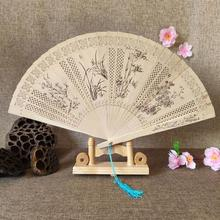 Folding Fans Decoration Hand-Made Incense-Wood Wood-Carving-Printing Chinese-Style Vintage