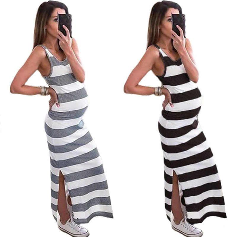 Летнее платье для беременных; Материнство; платье без рукавов для женщин; Одежда для беременных; без рукавов; в полоску; на бретелях; удобные платья