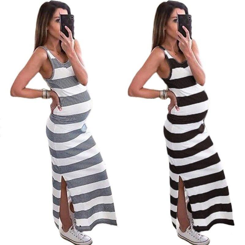 Summer Maternity Dress Pregnancy Sleeveless Women Pregnants Clothes Striped Strap Dresses Comfortable