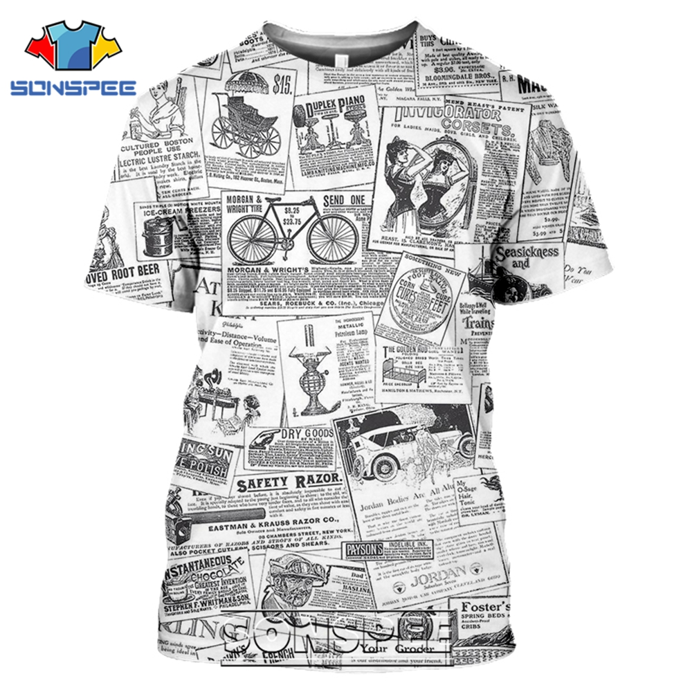 SONSPEE T-shirts Old Newspaper 3D Print Men Women Casual Fashion Hip Hop Funny Short Sleeve Streetwear Vintage Tees Tops Shirt