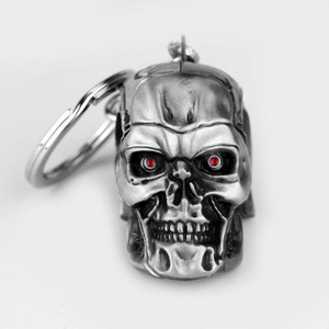 Image 3 - 10 unids/lote joyas de plata joyería de moda colgante película el exterminador esqueleto llavero de máscara calavera llavero para hombres llavero de coche