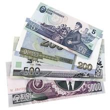 Norte-coreano coleta de notas 5/200/500/5000 coreia-norte ganhou moeda autêntica não circulou notas de coletor de dinheiro
