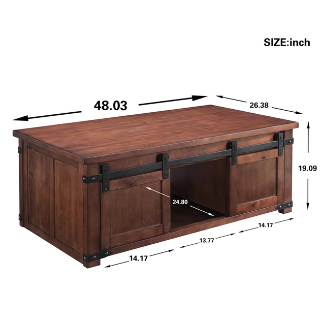Coffee table With Storage Shelf and Cabinets, Sliding Doors 6