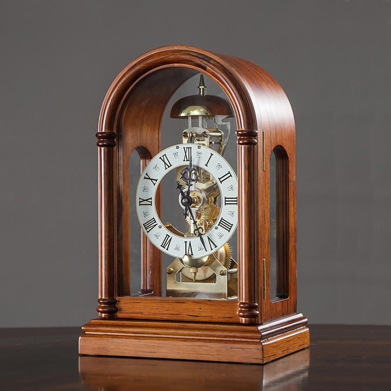 Винтажные механические настольные часы европейские однотонные деревянные часы настольные часы Ретро настольные часы декор для гостиной с