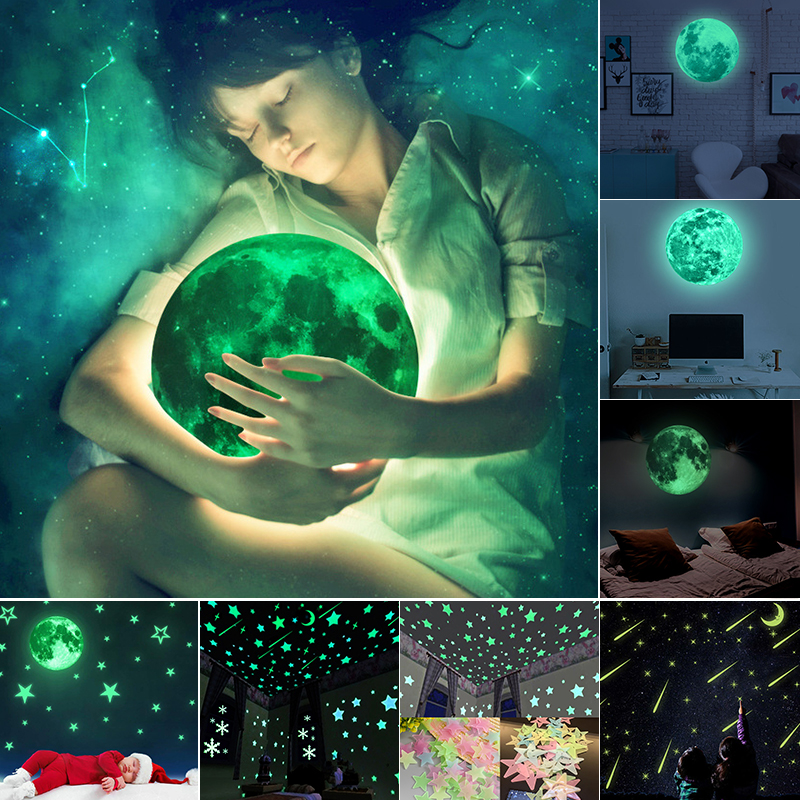 ZUCZUG 3D Star and Moon Energy Storage Fluorescent Glow In the dark Luminous on Wall Stickers for Kids Room living room Decal