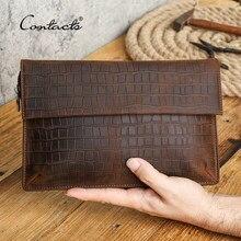 CONTACT'S – pochette en cuir Crazy Horse pour hommes, portefeuille pour téléphone portable, porte-passeport de grande capacité, porte-monnaie Long pour hommes