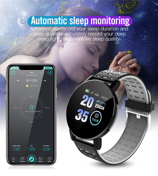 2021 New 119S Full Touch Smart Watch Men Women Sports Clock IP67 Waterproof Heart Rate Monitor Smartwatch For IOS Android Phone 5