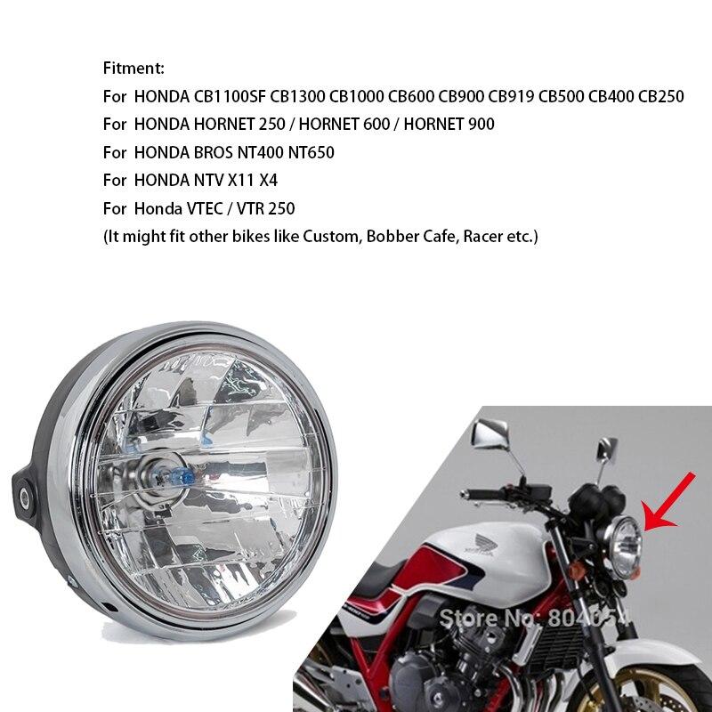 Halogen Headlight Round Chrome Headlamp Light Assy For Honda CB 400 600 900 919 1000 1100SF 1300 Hornet 600 900 VTR VTEC 250 Etc