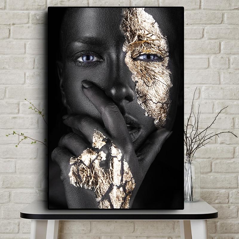 Arte africana preto e ouro mulher pintura a óleo sobre tela cuadros cartazes e impressões escandinavo arte da parede imagem para sala de estar