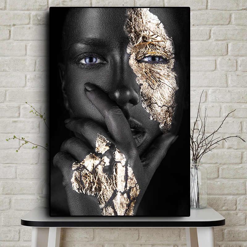 Afrikanische Kunst Schwarz und Gold Frau Ölgemälde auf Leinwand Cuadros Poster und Drucke Skandinavischen Wand Kunst Bild für Wohnzimmer zimmer
